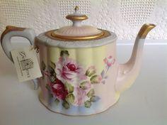 Porcelaine Tea Pot New w Tag Signed Burton Burton Hand Painted Roses | eBay