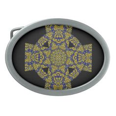 Blue and yellow Damask Celtic Cross Belt Buckle