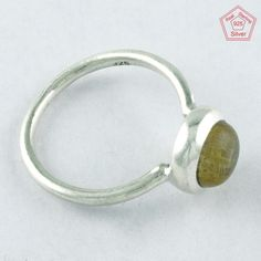 3.4 gm Silvex Images 925 Sterling Silver 7.5 US Golden Rutile Ring R4020 #SilvexImagesIndiaPvtLtd #Statement #AllOccasions
