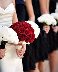 -red rose bouquet with ivy for bride -white rose bouquets for the bridesmaids