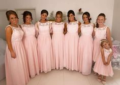 "Anita's girls looked truly amazing in their barely pink bridesmaid dresses purchased from FHFH! Click ""Visit"" to find the dress in the picture!"