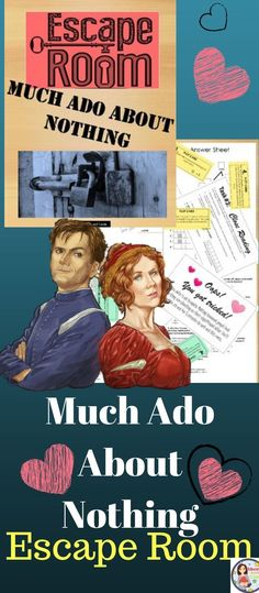 Much Ado About Nothing Escape Room. Guided Reading Activities, High School Activities, Reading Resources, Reading Skills, Classroom Activities, Middle School Ela, Middle School English, Secondary Resources, School Resources
