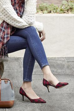 Sophisticated Red &  Black Plaid d'orsay Pumps - Perfect for the office or date night!