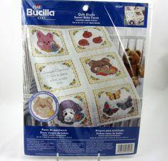 Bucilla Quilt Blocks Sweet Baby Faces Crib Kit Stamped Cross Stitch Personalize #Bucilla #QuiltBlocks