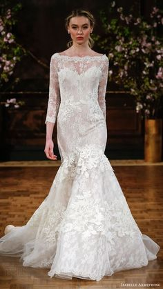 ISABELLE ARMSTRONG bridal spring 2017 illusion long sleeves bateau neck mermaid lace wedding dress