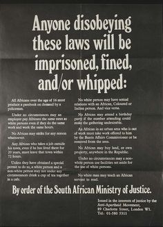 South Africa  apartheid!!! Wow