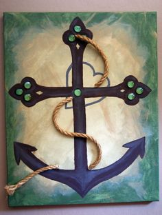 Anchor cross and heart canvas painting by FireFliesInk/ Brandi Holt on Etsy, $50.00