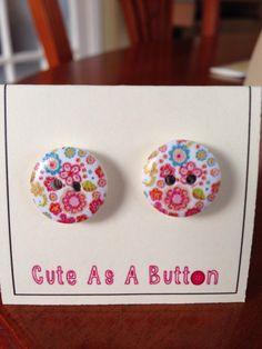 Multicolour abstract floral print wooden button earrings  http://www.facebook.com/cuteasabuttonNI