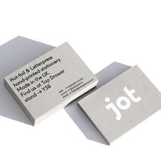 Jot Paper Co. Top Drawer Invites - Black letterpress and white hot-foil hand-printed on greyboard