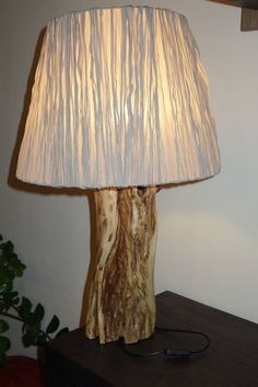 This lamp is made from a acacia tree trunk. Acacia, Lighthouse, Lightning, Lanterns, Lights, Home Decor, Ornaments, Bell Rock Lighthouse, Highlight