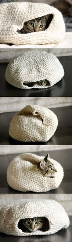 crochet cat bed pattern, but I'm thinking of trying this for our small dog. He likes to burrow.