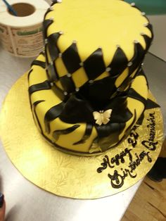 Calumet Bakery  Fondant Diamond and Zebra Print with Butterfly with Bow