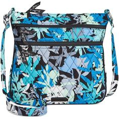 Vera Bradley Triple Zip Hipster Crossbody ($58) ❤ liked on Polyvore featuring bags, handbags, shoulder bags, camofloral, blue purse, blue cross body purse, crossbody handbags, shoulder strap handbags and shoulder strap bag