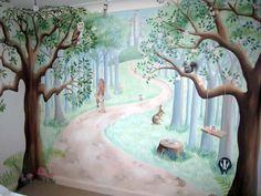 Fairy woodland mural in nursery (Baby Bottle Sketch)