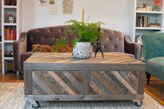 Grange et Chevron régénéré palette bois Table par newantiquity