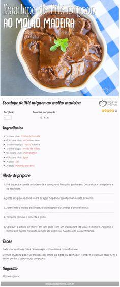 Escalope de filé mignon ao molho madeira - Blog da Mimis #infográfico #dieta #emagrecer #blogdamimis #receita