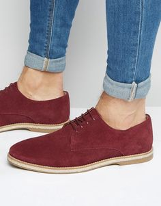 ASOS+Derby+Shoes+In+Burgundy+Suede+With+Jute+Wrap+Sole