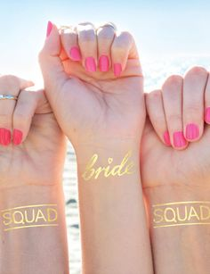 Hands-down the most fun and easy gift that can (and should) be used the night-of! We love these bride + squad tats.