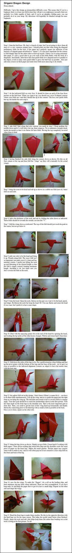 Origami Dragon Design Folding Instructions | Origami Instruction