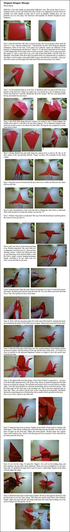 Origami Dragon Design Folding Instructions | Origami Instruction