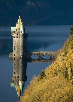 Small tower castle ruin on Lake Efrnwy, Wales. I would love to have a tower just sitting out on a lake somewhere. Beautiful Castles, Beautiful World, Beautiful Places, Wonderful Places, Places To Travel, Places To See, Places Around The World, Around The Worlds, Small Castles