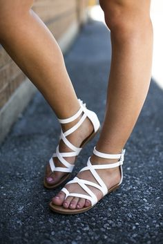 White Gladiator Sandal | Lane 201 Boutique http://shoestory.club
