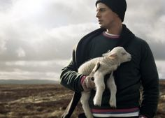 Something sweet, fluffy and adorable. And the lamb is pretty cute too…Matthew Goode - Hackett Fashion Shoot - Matthew William Goode, Morning Songs, A Discovery Of Witches, His Dark Materials, All Souls, White Kittens, British Actors, Pretty And Cute, I Love Dogs