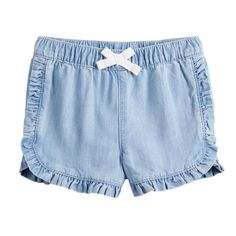 323b9ee77 Baby Girl Jumping Beans? Ruffled Dolphin-Hem Chambray Shorts Jumping Beans,  Chambray,