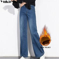a93848dfcdc9 Vintage jeans for women trousers winter warm fleece loose wide leg women's  jeans femme large sizes straight pants high waist