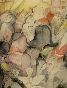 "Jeanne Mammen (German, 1890-1976) ~ She captured the powerful and sensual aspects of women during Weimar era Germany.  ""Carnival in Berlin"""