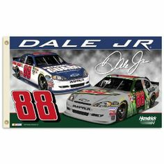 NASCAR Dale Earnhardt Jr. No.88 2-Sided 3x5 Flag with Grommets by BSI. $44.57. 2-sided. 3-by-5 Foot polyester Flag. Reinforced headband with two grommets for flying. Screen printed with uva protection. Officially licensed NASCAR product.. Show everyone that you are a die-hard fan by hanging up this 2-sided 3-foot x 5-foot NASCAR flag. This officially licensed flag is made of durable, 100-Percent polyester and is designed with 2 heavy-duty metal grommets so it is easy to hang.