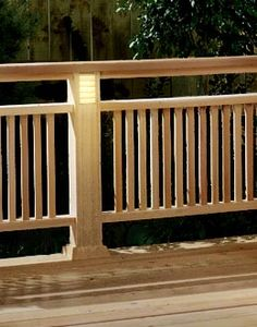 Deck Railing with Built-in Lighting Woodworking Plan, Outdoor Backyard Structures Wood Deck Railing, Deck Railing Design, Deck Stairs, Deck Design, Railing Ideas, Wood Stairs, Wood Decks, Staircase Ideas, Modern Staircase