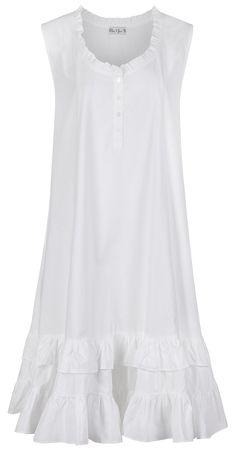 The 1 for U Sleeveless 100% Cotton Nightgown - Layla - White (XS)