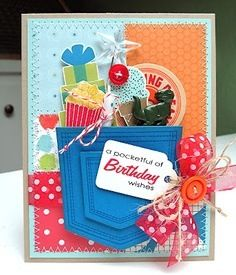 Wplus9 cute card.  A pocketful stamps.