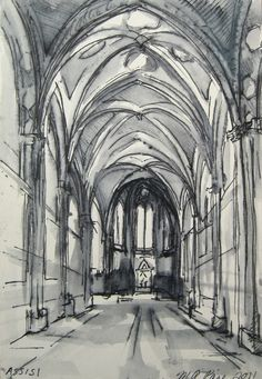 Ink Drawing Assisi Basilica Interior 4x6 by by michellearnold