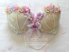 Lace & floral bra. $55.00, via Etsy.