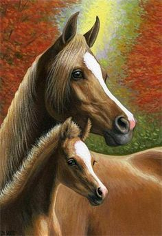 TWO AUTUMN BEAUTIES....a chestnut mare and her foal among the colourful leaves of autumn.....PRINTED