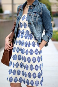 Fast Food & Fast Fashion: Summer Dress and Denim Jacket (Featuring J. Crew Filigree-embroidered Strapless Beach Dress)