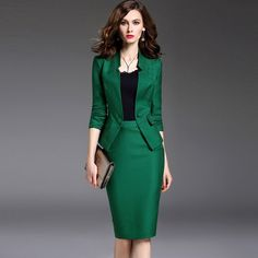 New Women's Skirt Suits Work Wear Sp. New Women's Skirt Suits Work Wear Spring and Autumn Long-sleeve Slim Suit + Package Hip Skirt Office Ladies Formal Wear Female Green Suit Women, Formal Wear Women, Long Skirts For Women, Culottes, Skirt Suit, Work Attire, Skirt Outfits, Work Outfits, Work Wear