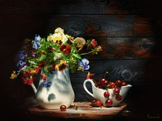 Photograph Still life with  the pansies and cherry by Svetlana Avanesova on 500px