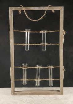 Wood Frame Display with 5 Glass Vials