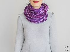 SCARF // Violet Infinity Eternity Scarf Noodle by Sudrishta, $14.00