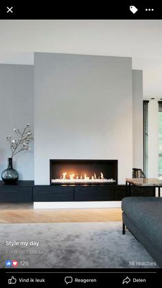 contemporary living room fireplace 1 Source by SandyMarry The post modern living room . - contemporary living room fireplace 1 Source by SandyMarry The post modern living room fireplace 1 a - Linear Fireplace, Home Fireplace, Living Room With Fireplace, Fireplace Surrounds, Home Living Room, Living Room Designs, Living Room Decor, Fireplace Modern, Fireplace Ideas