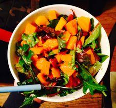 Healthy squash salad with lemon dijon vinaigrette #vegan #whatveganseat