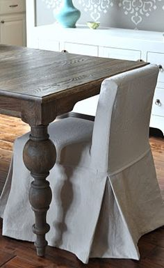 How To Slipcover Diningroom Chair Drop Cloth Dining Slipcovers Chairs