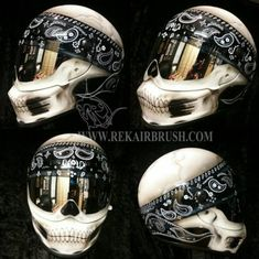 Airbrushed Motorcycle Helmets by REKairbrush Reppin Skull Helmet by Rekairbrush The post Airbrushed Motorcycle Helmets by REKairbrush appeared first on Motorrad. Motorcycle Helmets For Sale, Bobber Motorcycle, Cool Motorcycles, Motorcycle Clothes, Biker Helmets, Women Motorcycle, Motorcycle Style, Vintage Motorcycles, Skull Helmet