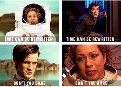 She knew what he had said years in advance. She knew. Look at that sadness in her eye. She practically rewrote time for him, but she wouldn't let him do it for her. All that compassion. She died so he could save himself. #doctorwho #riversong
