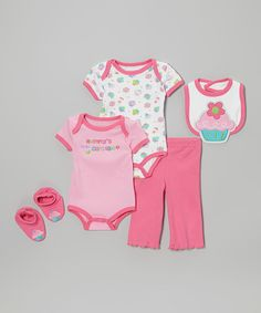 Cozy cotton wraps up the tiniest member of the family in this animal-inspired instant ensemble. With a lap neck and snap closures on the bodysuits for quick changes combined with matching booties to keep toes toasty and secure, this charming set will be the hit of any infant wardrobe. Even better, a fun bib keeps everything clean during messy mealtimes!