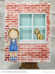 Small Brick Background, Woof You Stamp Set, Window Die-namics, Woof You Die-namics - Sharon Harnist  #mftstamps