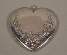 Art Nouveau LG Sterling Heart Locket Pendant from jewelrider on Ruby Lane